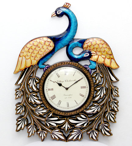 Aakashi Carved Peacock Wall Clock - Nakashi International LLC