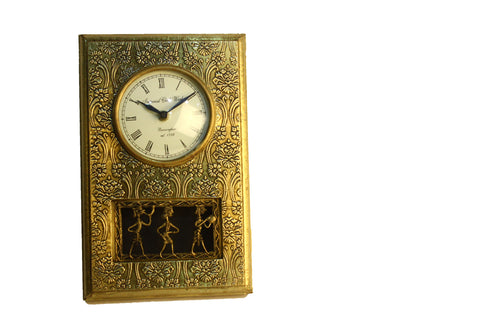 Aakashi Hand-Carved Brass Rectangle Wall Clock - Nakashi International LLC