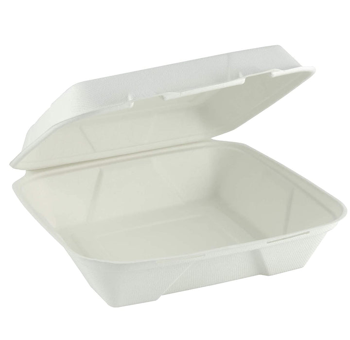 "Bagasse 1 Compartment Folding Take Out Container - 9"" x 9"" x 3"""