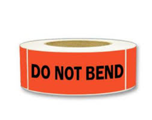 "LAB-BR124 ""Do Not Bend"" Labels, 2"" x 5-3/8"""