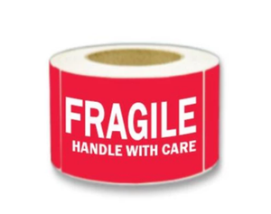 "LAB-RW302 ""Fragile/Handle With Care"" Label; 3"" x 5"""