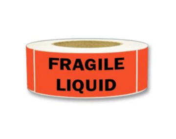 "LAB-BR192 ""Fragile/Liquid"" Label, 2"" x 5-3/8"""