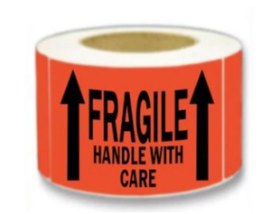 "LAB-BR220 ""Fragile/Up Arrows"" Label, 3"" x 5"""