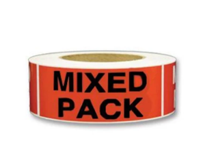 "LAB-BR/MIXPACK-2X5 ""Mixed Pack"" Label, Black on Radiant Red, 2"" x 5"""