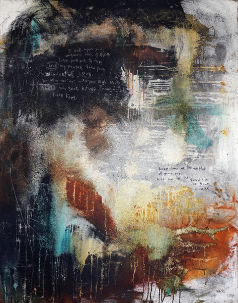 Original Abstract Paintings with Scripture from Bible scrawled into the paint