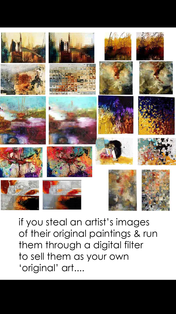 You can not steal another artists images and digitize them and claim they are your own it is against the law. Copyright infringement.  Copycat artists stealing from artists to profit is illegal.