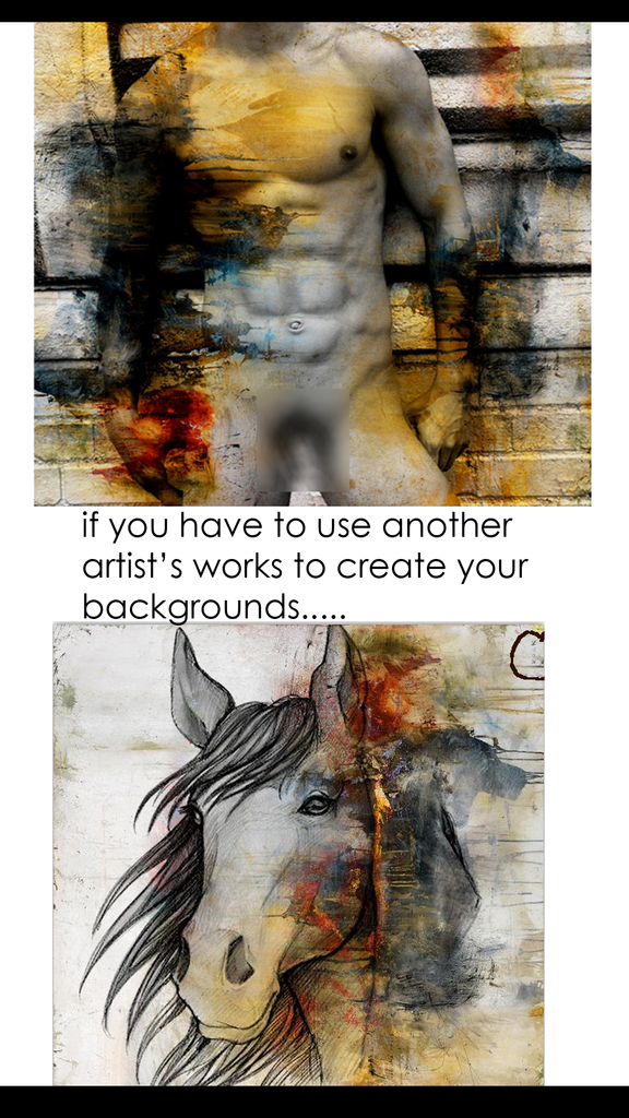 Can I steal another artists artwork if I add to it? Can I copy an artists painting to use as my background.  No.  Copyright infringement is illegal.  You can not create a derivative of another artist's works.