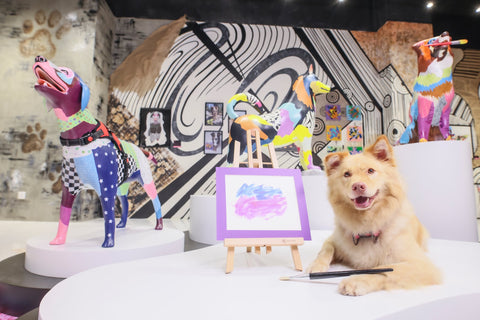 This art show has gone to the DOGS literally.  Michel Keck Dog Collage Art Exhibit Hong Kong