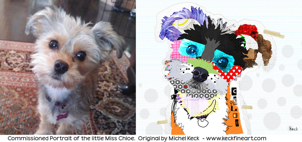 Snorkie Pet Portrait Commission by Michel Keck. Colorful Snorkie Dog Art Commission