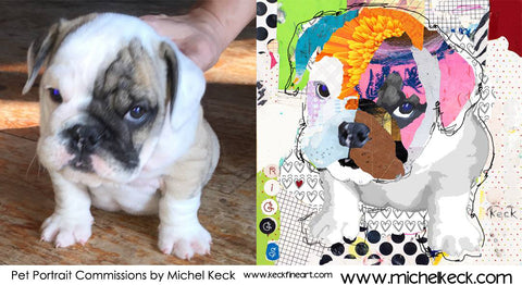commission a colorful collage portrait of your fur baby.  Pet portraits by Michel Keck