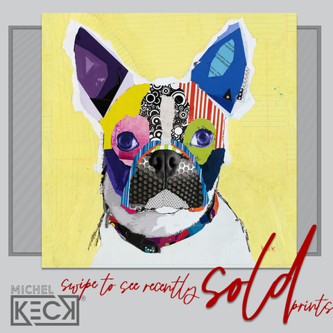 DOG ART PRINTS - abstract collage art dog prints by michel keck