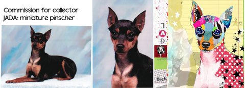 dog collage of your fur baby. colorful pet portraits by dog collage artist michel keck