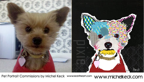 colorful dog art pet portrait commissions. hire collage artist michel keck to create a one of a kind commission artwork of your dog or cat