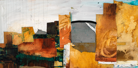 ABSTRACT SKYLINE MIXED MEDIA ART by Michel Keck