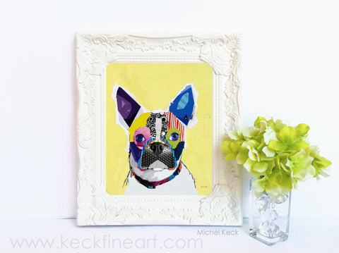 Dog Art of Boston Terrier on Paper Print