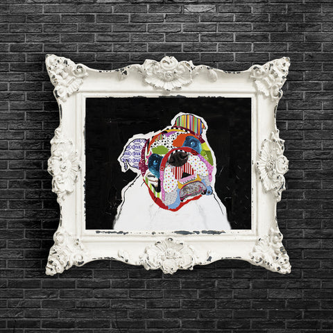 Dog Art of English Bulldog on Paper Print