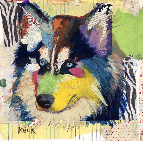 Original Dog Art Collage: Siberian Husky