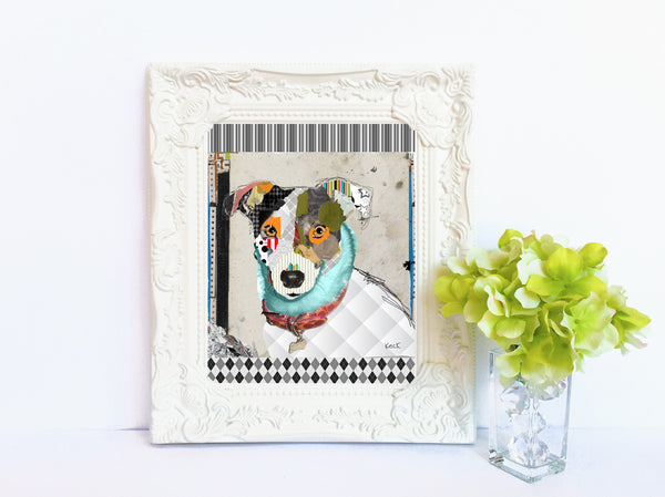 Dog Art of Jack Russel Rat Terrier mix on Paper Print