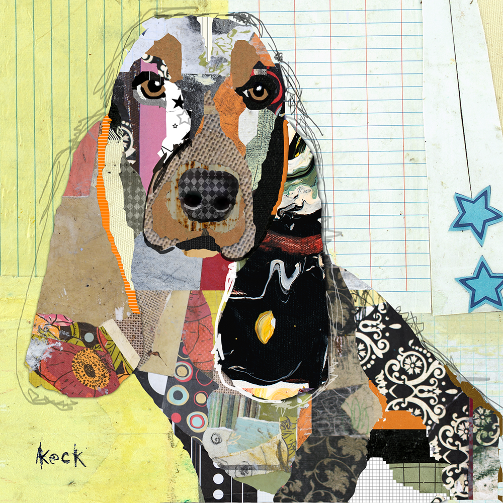 Basset hound dog art prints.  Colorful art of basset hound dogs.  Basset hound canvas art prints by Michel Keck