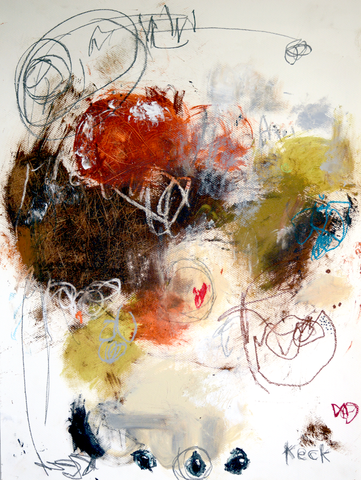 #011604<br> Hard Fight To Win <br> Original Abstract Painting on Paper