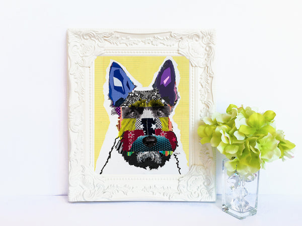 Dog Art of Scottish Terrier on Paper Print