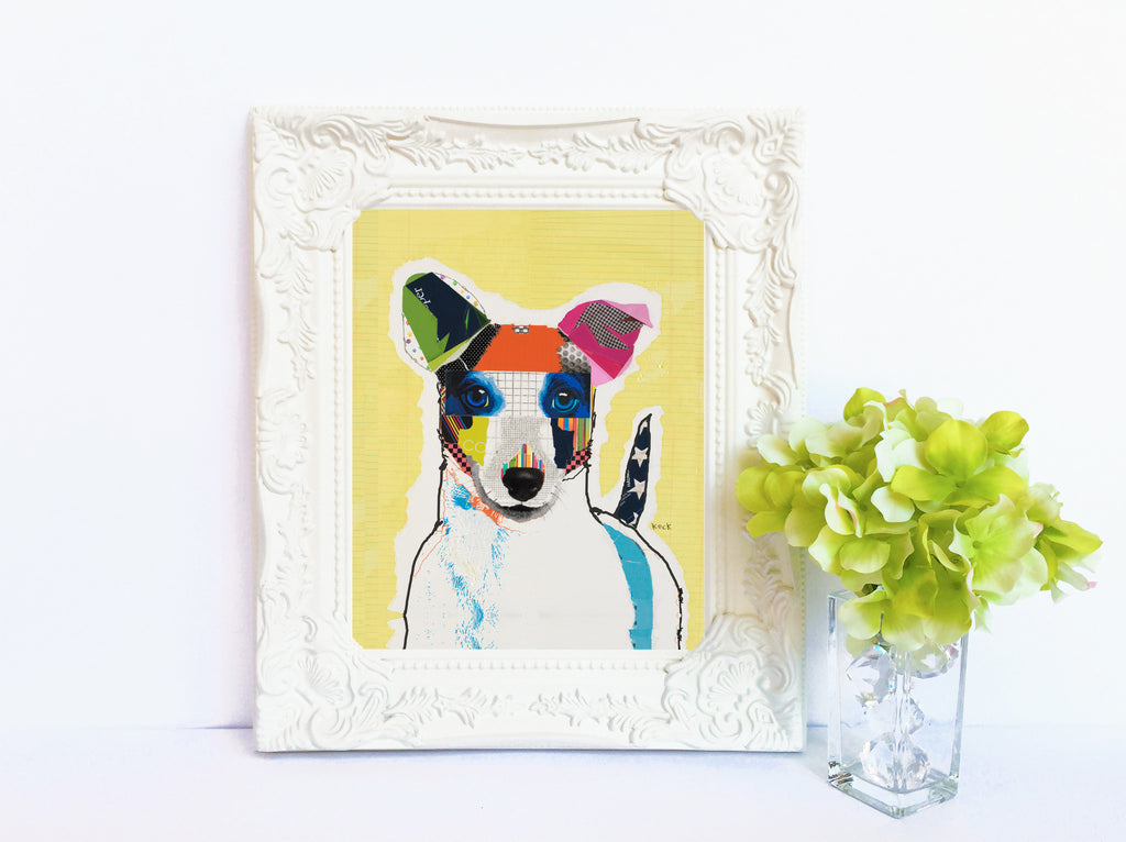 Dog Art of Jack Russell Terrier on Paper Print