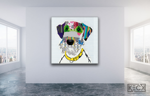Airedale Terrier Pet Portrait. Hire Dog Art to create a one of a kind artwork of your Airedale Terrier.  Airedale Terrier Dog Collage by Michel Keck.