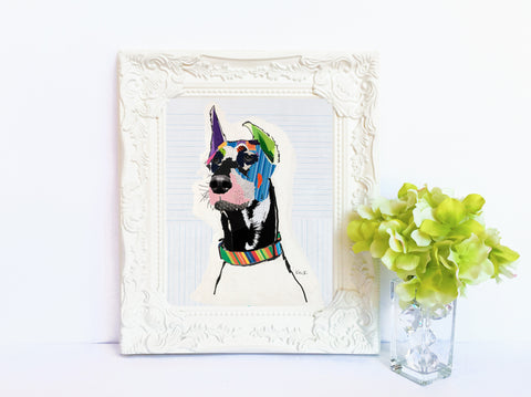 Dog Art of Doberman on Paper Print