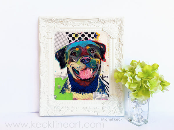 Dog Art of Rottweiler on Paper Print
