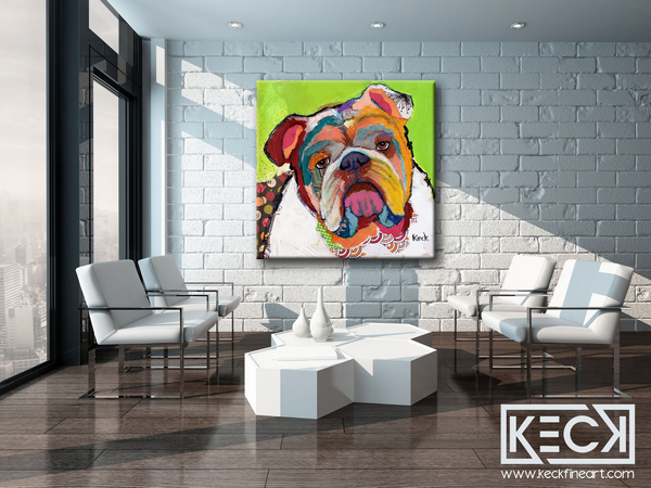 American Bulldog Colorful Art Prints on Canvas. American Bulldog art. American Bulldog collage art on canvas.  Pet Portraits of American Bulldogs