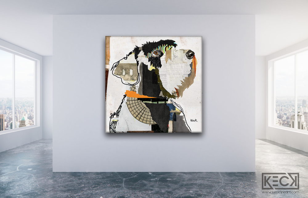 Abstract Dog Art Collage Canvas Prints Forsale