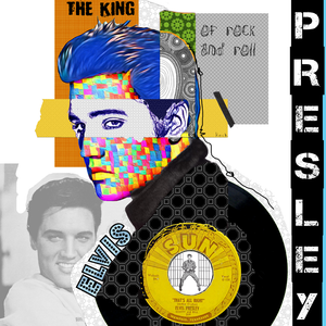 ELVIS PRESLEY COLLAGE ART MIXED MEDIA PRINT