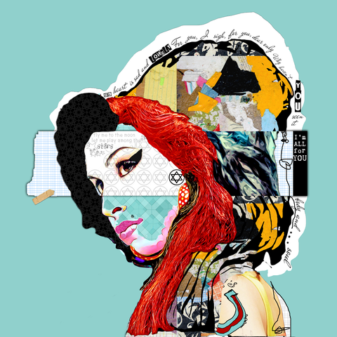 AMY WINEHOUSE MIXED MEDIA ABSTRACT ART COLLAGE by michel keck