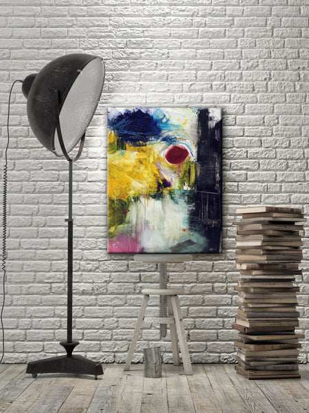 ABSTRACT ART Canvas Print of When Push Comes to Shove