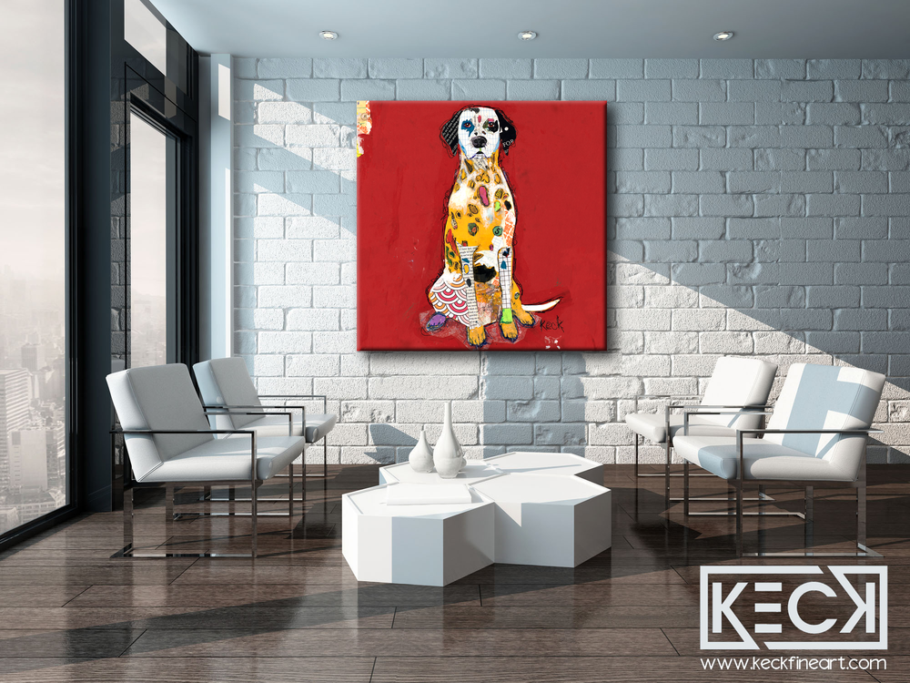 Modern Abstract Artwork of Dalmation.  Dog Collage Wall Decor of Dalmation Dog