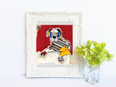 Dog Art of Great Dane on Paper Print