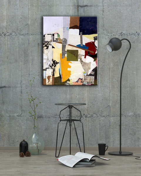 COLORFUL ART PRINTS:  Colorful mixed media, torn paper collage art canvas prints.  Small to OVERSIZED