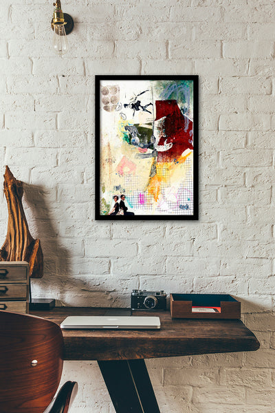 Original Abstract Art Paper Collage: Balancing Act