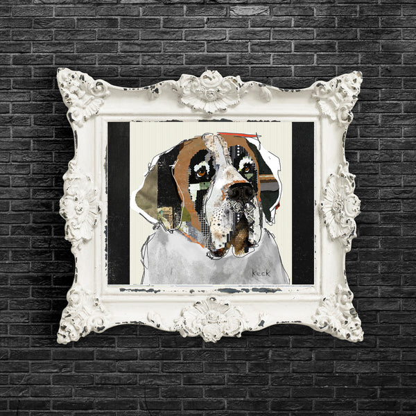 Dog Art of St. Bernard on Paper Print