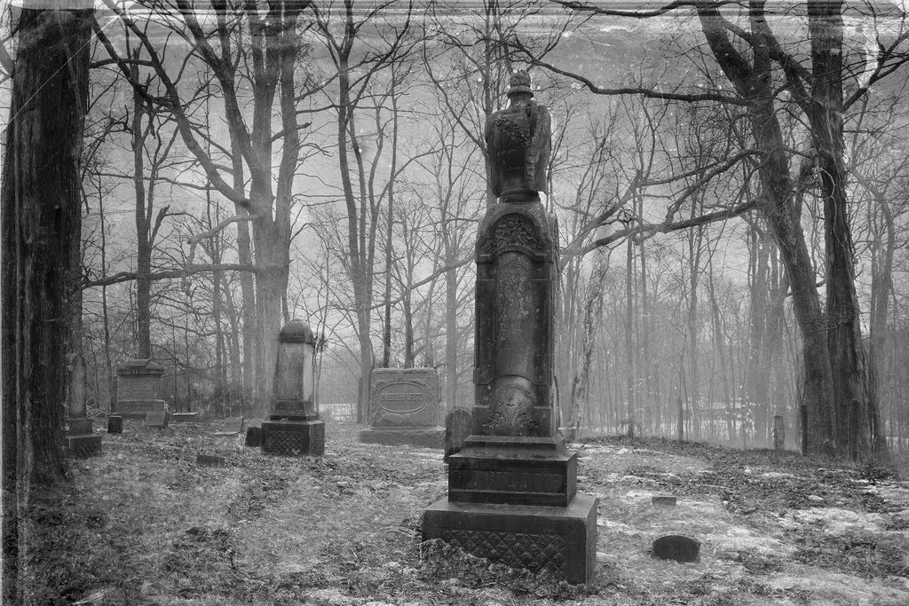 Black and White Cemetery Vintage Film Photograph On Canvas