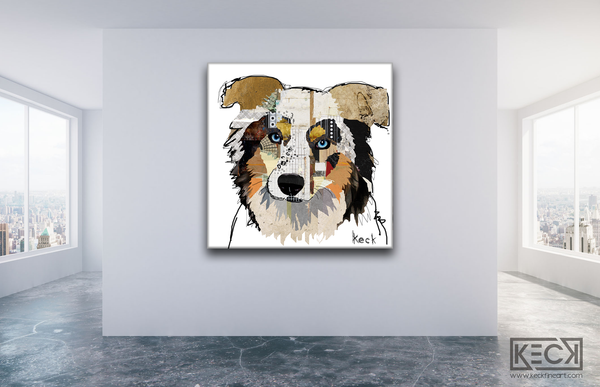Australian shepherd colorful dog art. australian shepherd dog art prints on canvas. australian shepherd dog art