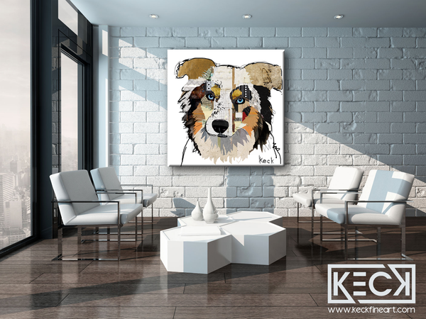 LARGE art prints of Australian Shepherd dogs.  Colorful, modern artwork of Australian Shepherd dogs.  australian shepherd dog art.