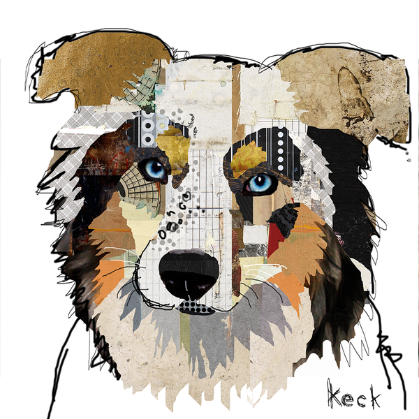 AUSTRALIAN SHEPHERD ART.  Australian shepherd dog art prints and paintings.