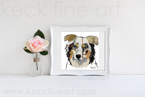 Dog Art of Australian Shepherd on Paper Print