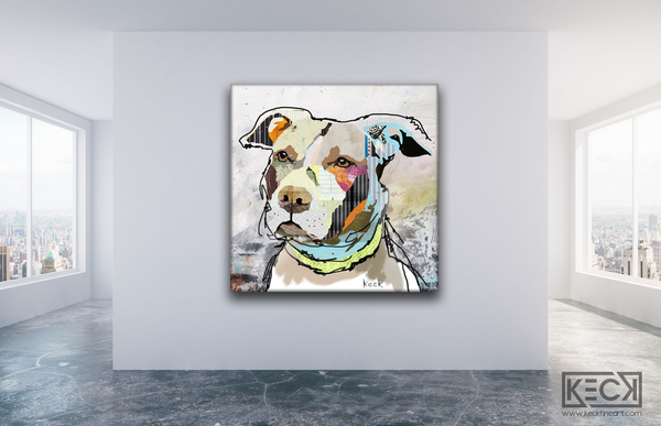 Large Art Print of Pit Bull.  Small to XXL Pit Bull art prints on canvas.