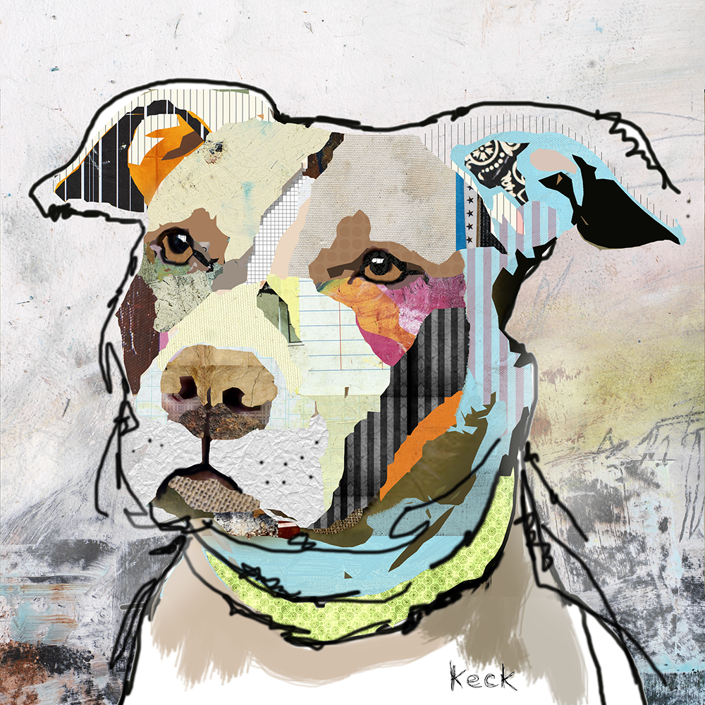 PIT BULL ART PRINTS. Modern and colorful pit bull art prints by Michel Keck