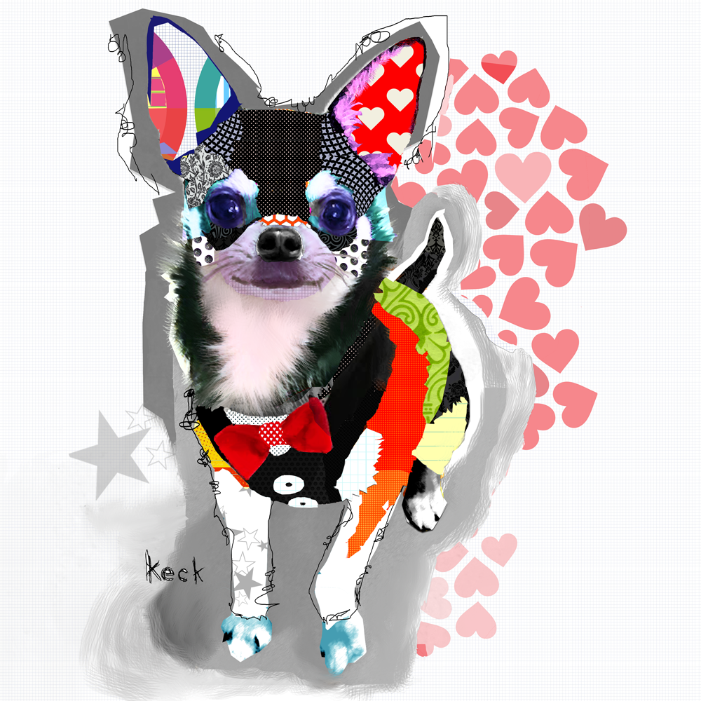 Chihuahua Dog Art Prints - Colorful Chihuahua Dog Art Collage Print by Michel Keck