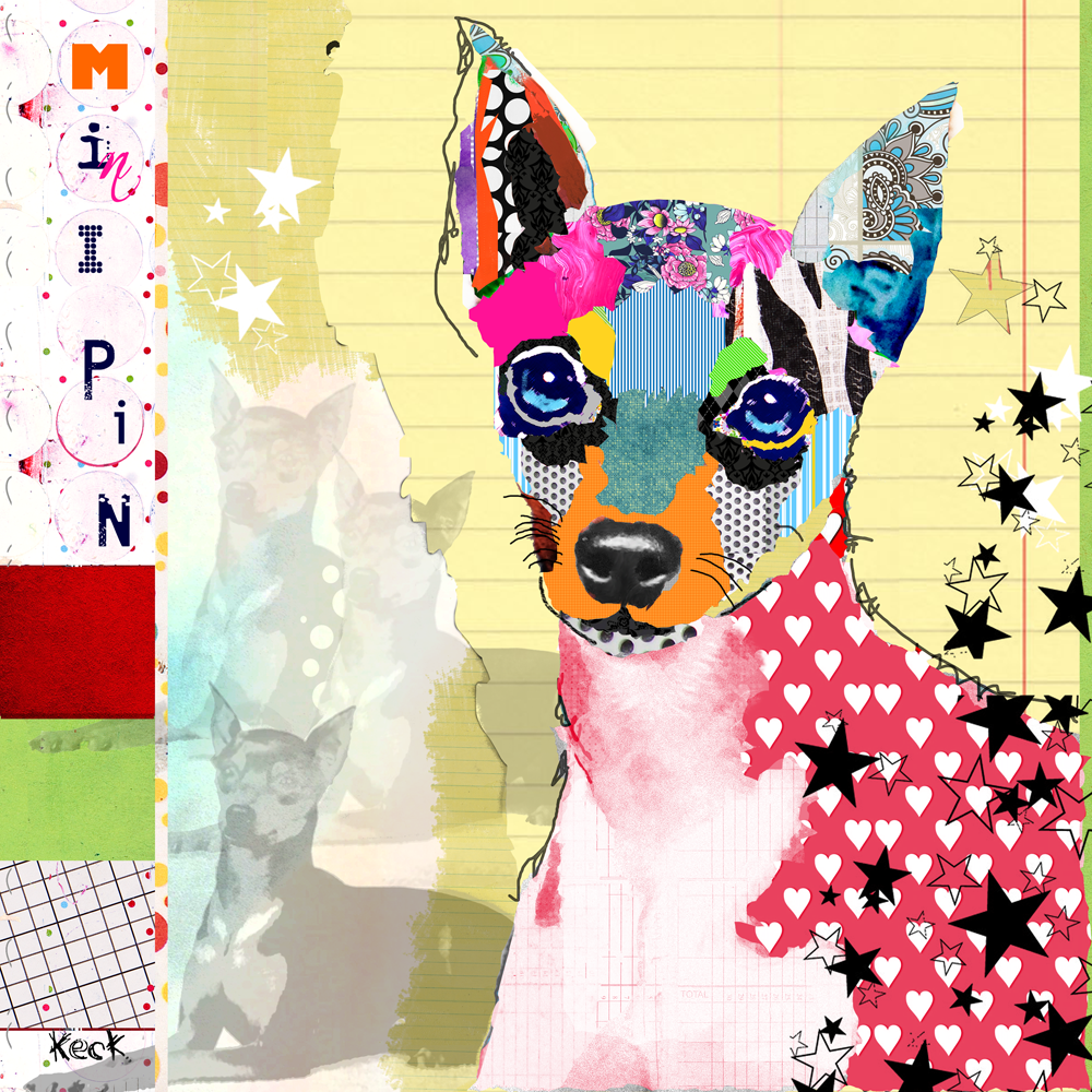 Miniature Pinscher Dog Art: Mini Pin canvas art prints. Colorful miniature pinscher dog art collage work by Michel Keck.  Where to buy art of miniature pinscher dogs