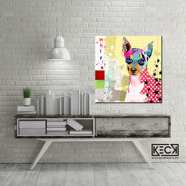 Mini Pin art.  Dog art canvas prints of miniature pinschers. Colorful Mini Pin artwork.  Have a pet portrait of your miniature pinscher collected.