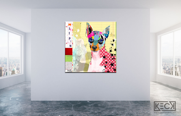 Colorful Mini Pin Pop Art.  Miniature Pinscher Collage Art.  Canvas dog art prints of mini pins.
